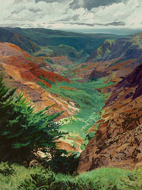 """Waimea Canyon ~ Gicle'e on paper 16 1/2 x 22"""""""