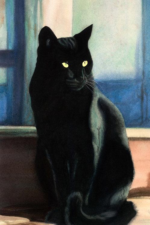 "Gato Negro ~ Gicle'e on paper 10 1/2 x 18"""