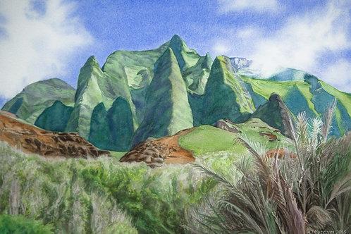 Kalalau Heiau, Kauai ~ Original Watercolor - Framed