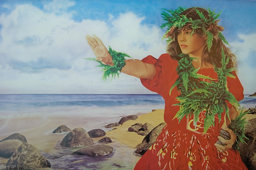 "Hanakapiai Dancer ~ Kauai. Lithograph 16 x 25"""