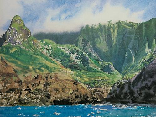 Hanakoa~ Napali coast, Kauai. Lithograph