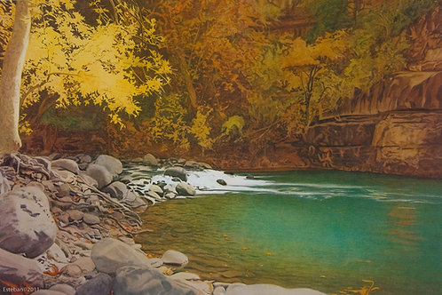 Oak Creek ~ Lithograph 17 x 25 1/2""