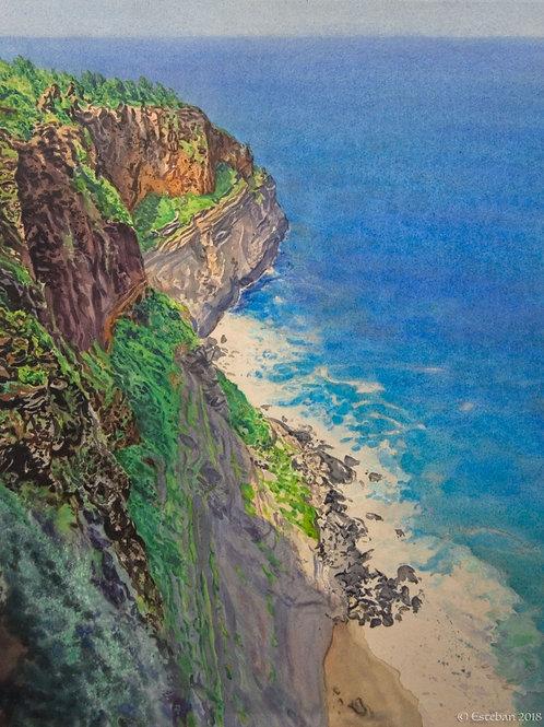 Crater Hill~Kauai.  Original watercolor (Diptych)
