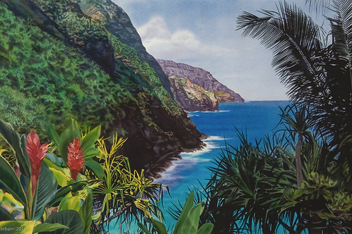 "Napali Trail, Kauai ~ Gicle'e on paper 12 x 19"""