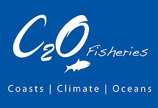 c2o Fisheries logo_white on blue_highres