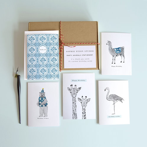 Birthday Animals Greetings Card Set