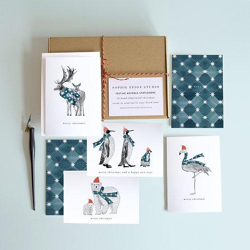 Festive Animals Stationery Set