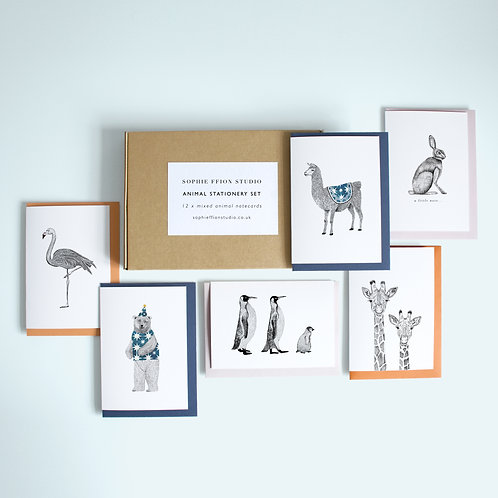 Animals Social Stationery Set | 12 Cards