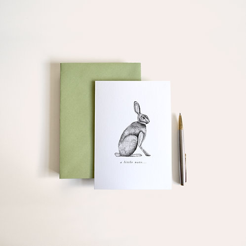 10 hare note cards 'a little note...'