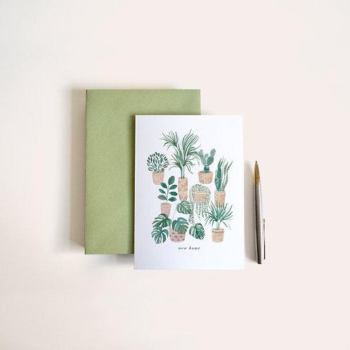 'new home' houseplants card