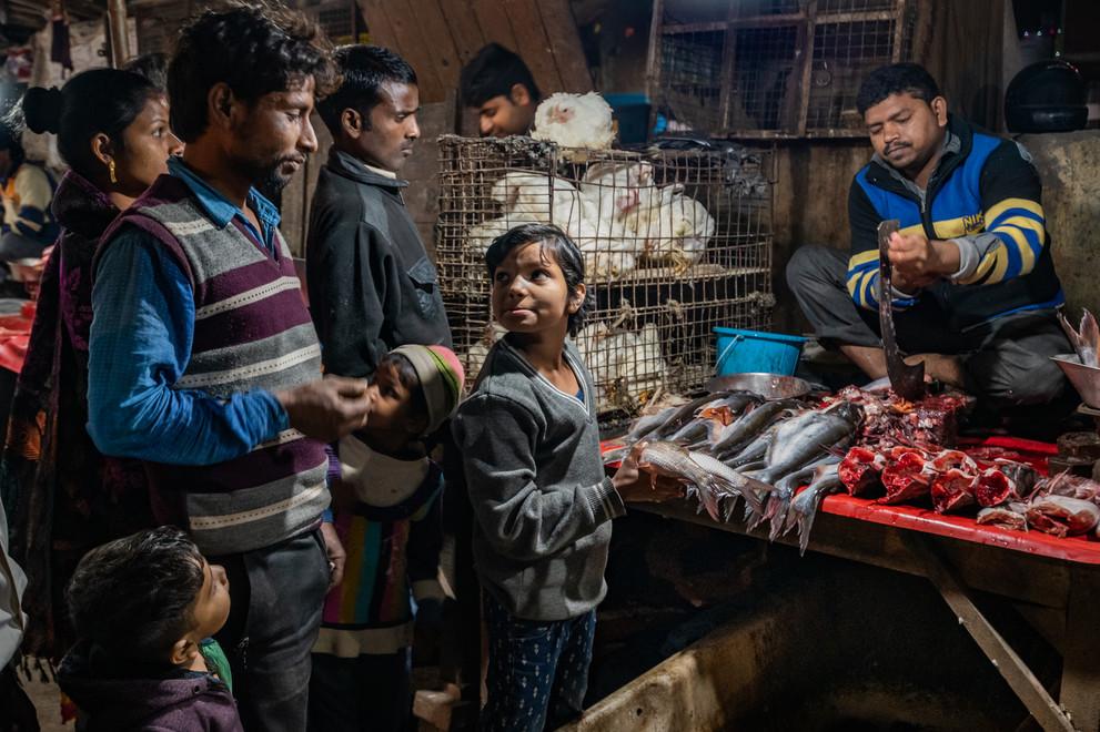 Fish vendors, JJ Colony, New Delhi