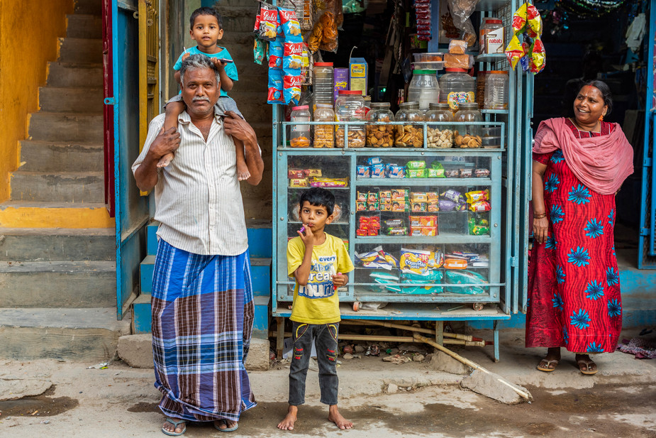 Shopkeeper with family, Bangalore
