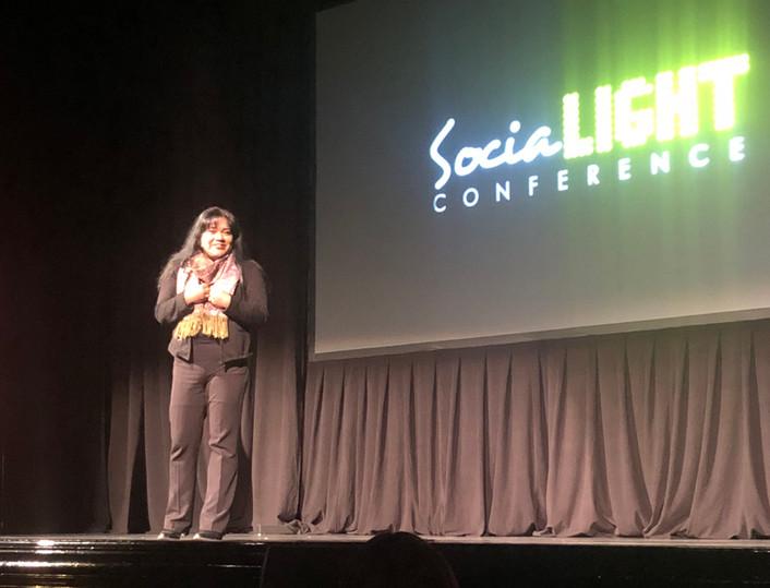 Keka speaks at the SociaLIGHT Conference at Toronto's prestigious Winter Garden Theatre.