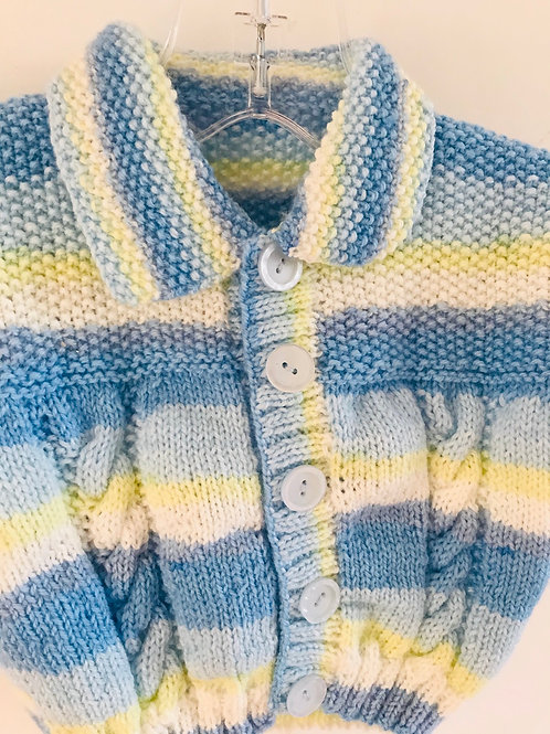 Blue Stripe Collared Knitted Cardigan