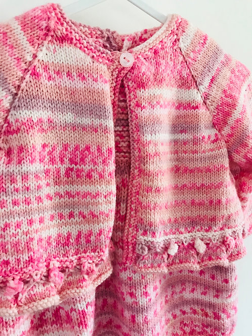 Pink Multi Stripe Knitted Set - Dress and Cardigan
