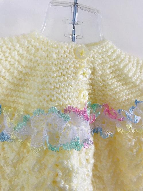 Rainbow Trim Lemon Knitted Matinee Cardigan