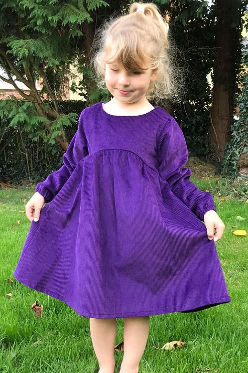 The Isabella Dress - Purple Corduroy