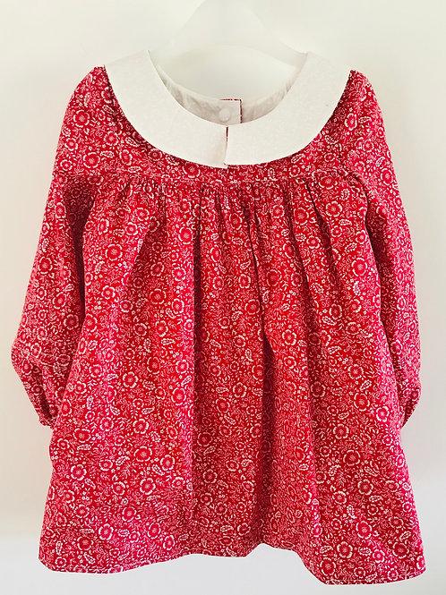 The Hallie Dress - Crimson Ditsy Floral - Front View