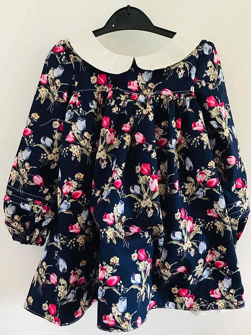 Full Front Hallie Dress - Navy Tulips (The Danica Dress, Vintage Little Lady)