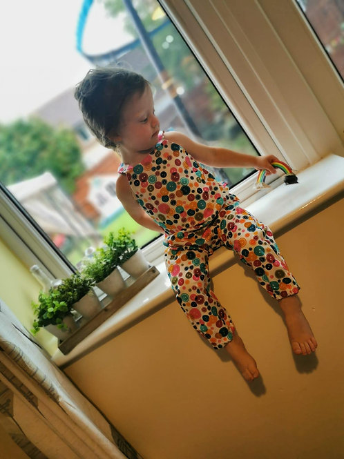 Harri Dungares - Buttons on White Cotton (Wild and Free Dungarees, Made by Jacks' Mum)
