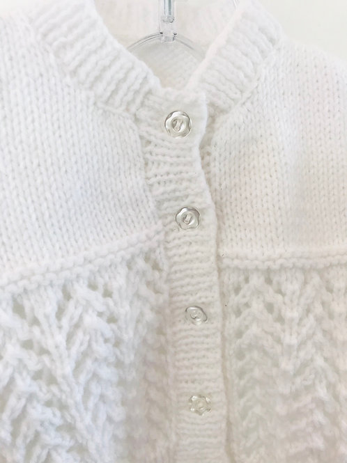 White Purl Knitted Cardigan - Buttons