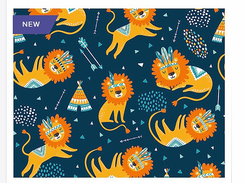 Navy Sleeping Lions - Fabric Option for Clothing
