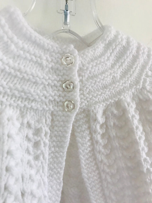 White Soft Touch Knitted Matinee Cardigan
