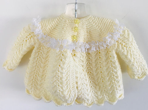 White Trim Lemon Knitted Matinee Cardigan