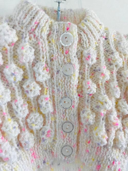 Cream Multi Knitted Bobble Cardigan