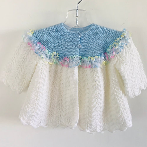 Rainbow Trim Blue & White Knitted Matinee Cardigan