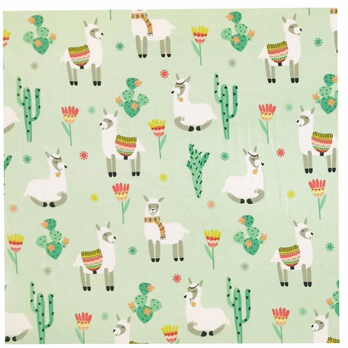 Mint Llamas - Fabric Option for Clothing