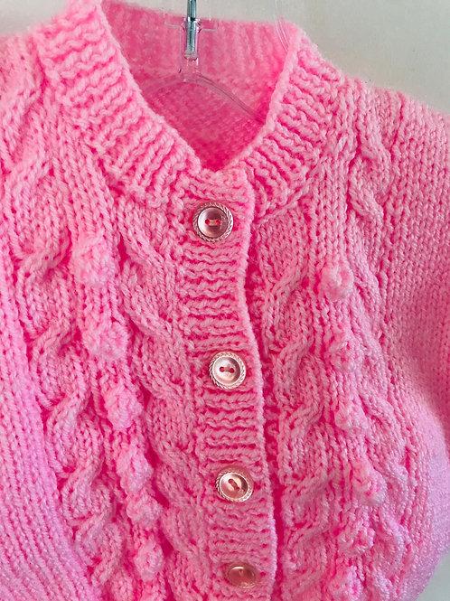 Pink Bobble Row Cardigan