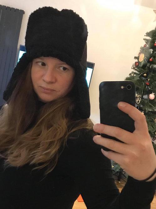 Adult Black Sherpa Fleece Lined Aviator Hat