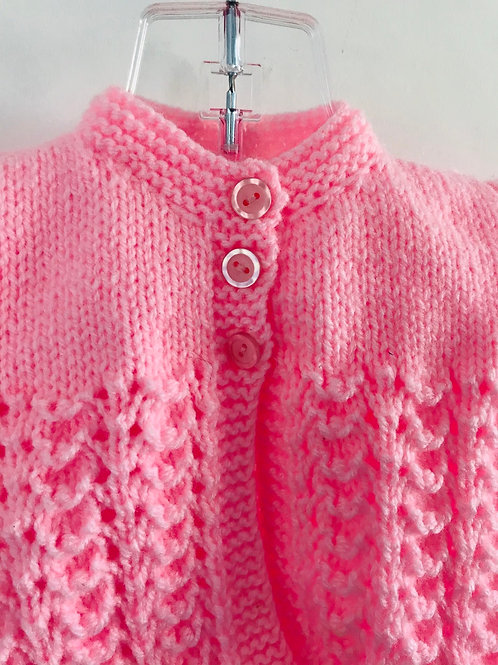 Pink Knitted Matinee Cardigan