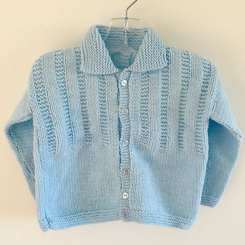 Blue Purl Collared Knitted Cardigan