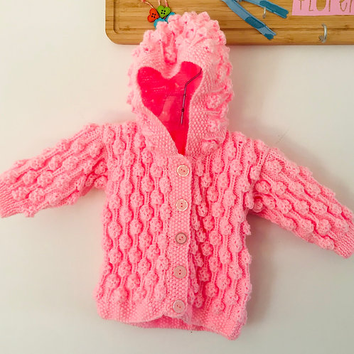 Hooded Pink Bobble Knitted Cardigan - Hood Up
