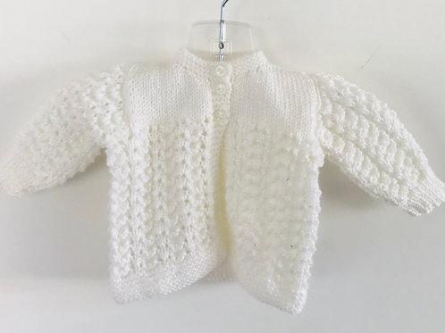White Glitter Knitted Matinee Cardigan