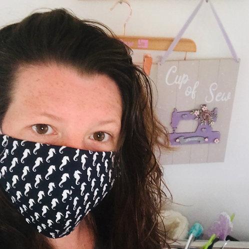 Cotton Face Masks - Navy Seahorses