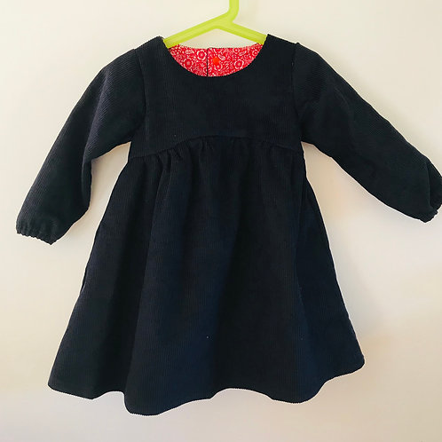The Isabella Dress - Navy Corduroy - Front View