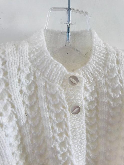 White Waffle Knitted Cardigan