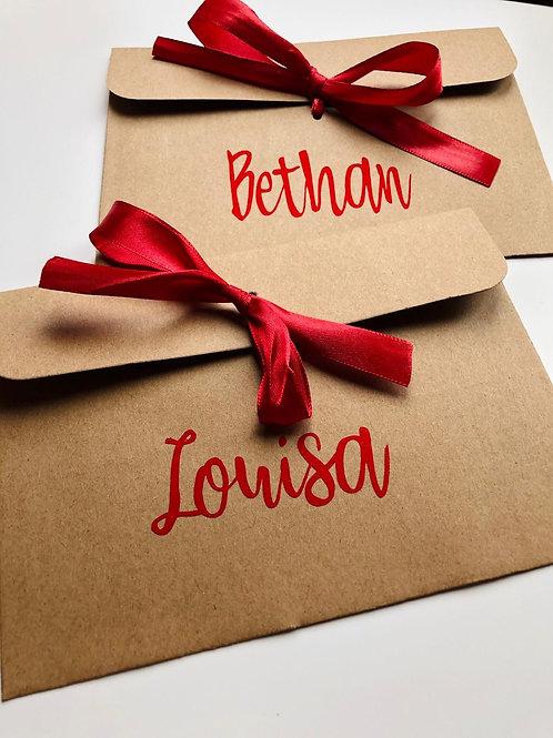 Personalised Money/Voucher Envelopes