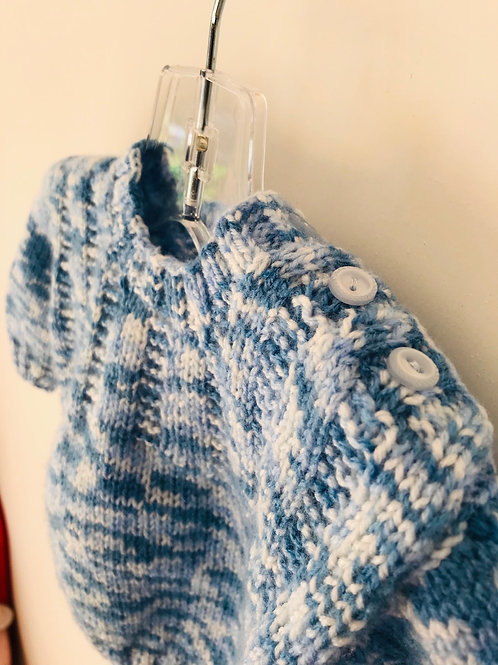 Blue Speckled Knitted Jumper - Buttons