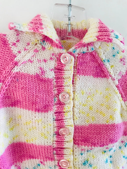 Pink Stripe Collared Knitted Cardigan
