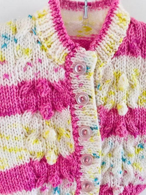 Pink Stripe Bobble Row Cardigan