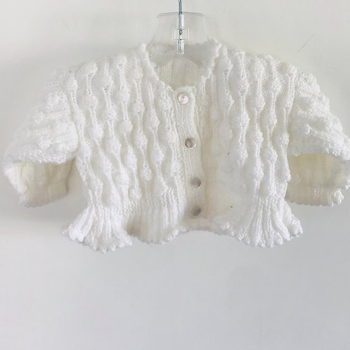 White Peplum Hem Knitted Bobble Cardigan