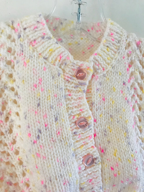 Cream Multi Purl Knitted Cardigan