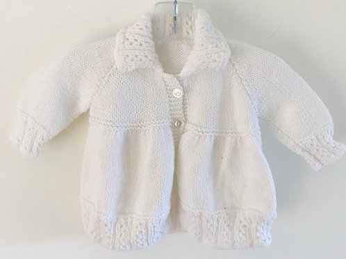 White Collared Knitted Matinee Cardigan