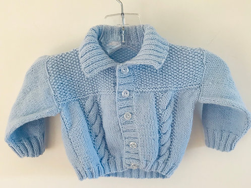 Blue Collared Knitted Cardigan