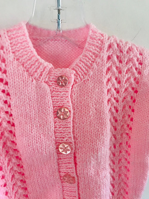 Pink Glitter Purl Knitted Cardigan