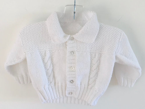 White Collared Knitted Cardigan